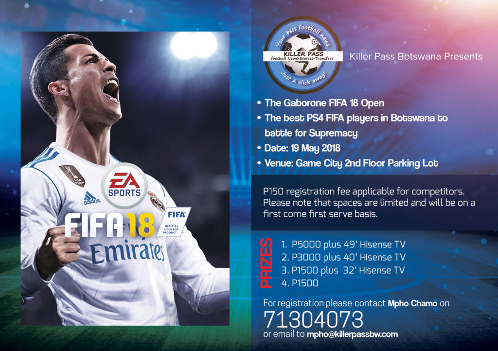 Killer pass to host fifa 18 ps4 open tournament in for Table 52 gaborone